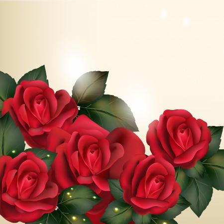 Vektor niedlichen roten Rosen im Vintage-Stil für Design Standard-Bild - 21559312