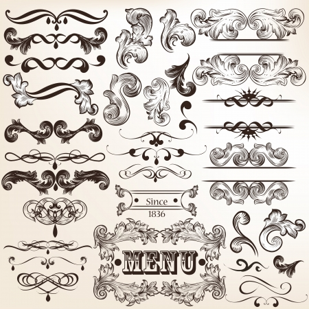 Vector set of calligraphic elements for design  Calligraphic vector Stock Vector - 21559301