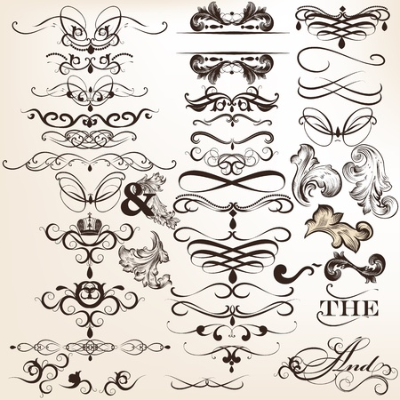 Vector set of calligraphic elements for design. Calligraphic vector Stock Vector - 21803225