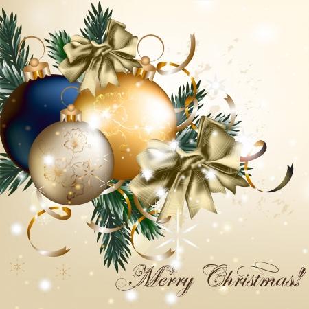 Tarjeta vector vendimia linda con ramas de árboles de Navidad para el diseño