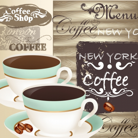 Coffee  vector background with  blue cups and grunge elements on wooden background  Stock Vector - 21803232