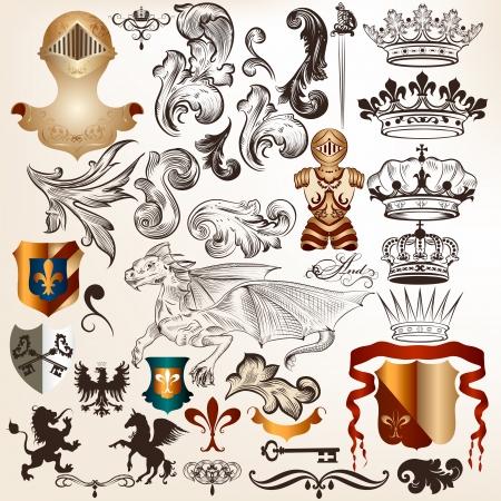 drago alato: Vector set di lusso regale elementi d'epoca per il vostro disegno araldico