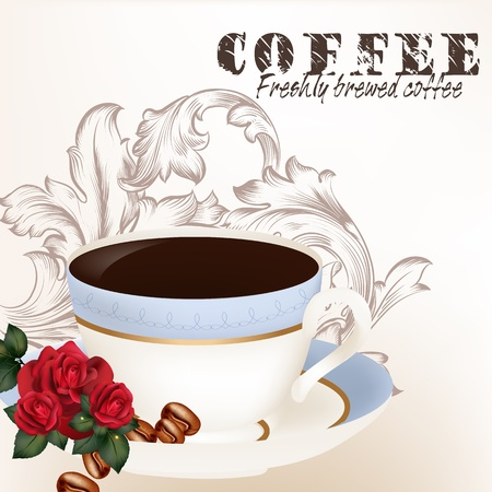 Coffee  vector background with  blue cup  and roses on a white background Stock Vector - 21803257