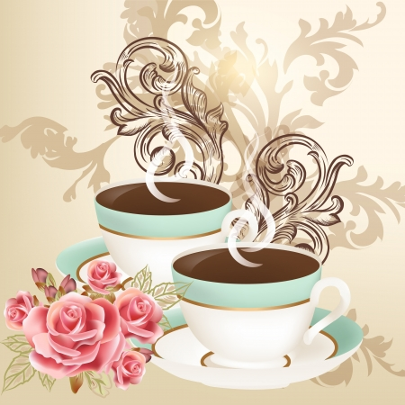 tea rose: Vector background with  blue cups of tea  and roses on a light background Illustration