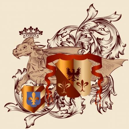 nobel: Vector her�ldico ilustraci�n de estilo vintage con escudo, armadura, corona y el drag�n para el dise�o Vectores