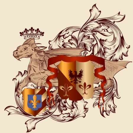 Vector heraldic illustration in vintage style with shield, armor, crown and dragon for design Vector