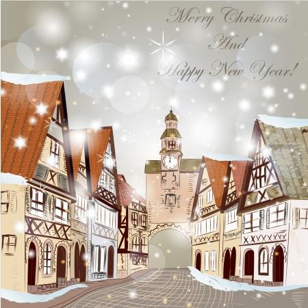 Carte tirée vecteur de la main de Noël dans le style croquis avec vieille rue et les maisons anciennes