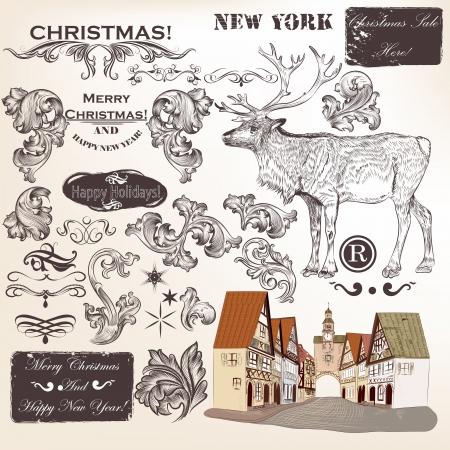 Decorative elements for elegant Christmas design. Calligraphic vector  Illustration