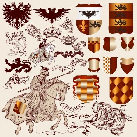 eagle shield and laurel wreath: Vector set of luxury royal vintage elements  Illustration