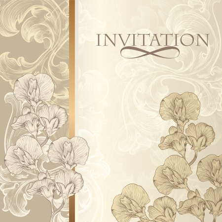 Vector hand drawn  invitation design in classic floral style
