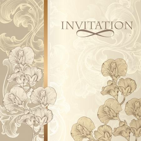 Vector mano diseño de la invitación dibujado en el estilo floral clásico Ilustración de vector