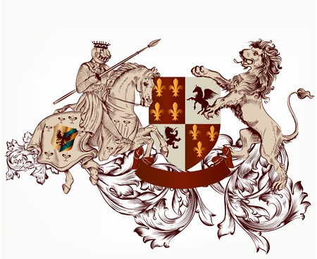 Vector heraldic illustration in vintage style with shield, armor, crown, knight and lions for design