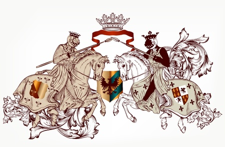 Vector illustration in vintage style with heraldic knights on horses
