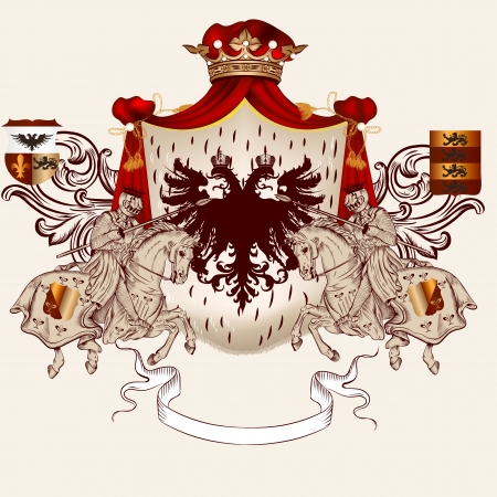 nobel: Vector illustration in vintage style with heraldic knights on horses