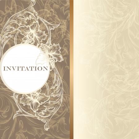 wedding anniversary: Elegant classic wedding invitation or menu. Retro vector Illustration