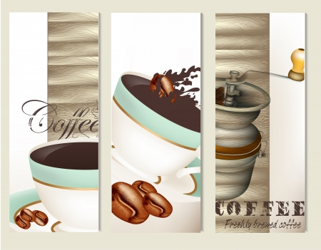 Coffee  vector backgrounds set  with  blue cups and grunge elements on wooden background  Stock Vector - 22095114