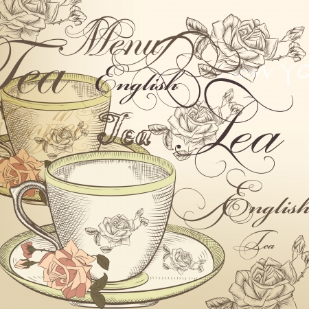 tea rose: Tea  vector background with  cup  and roses on a beige  background