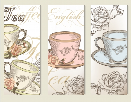 Vector set of brochures or cards with cups of tea Vector