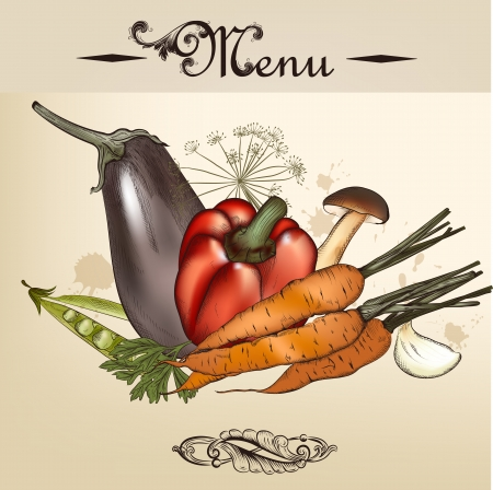 foodstuffs: Vector menu design with different foodstuffs  drawing in vintage style Illustration