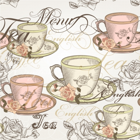 tea rose: Vector seamless wallpaper with hand drawn cups of tea and roses in vintage style