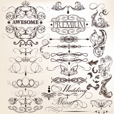 Vector set of calligraphic elements for design  Calligraphic vector Stock Vector - 22321866