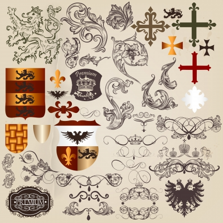medieval king: Vector set of luxury royal vintage elements for your heraldic design