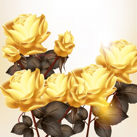 Beautiful vector background  or invitation with beige roses Vector
