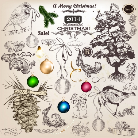 Vector set of Christmas decorative elements for design