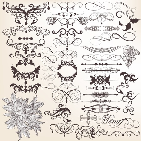 Vector set of calligraphic elements for design  Calligraphic vector Stock Vector - 22545361