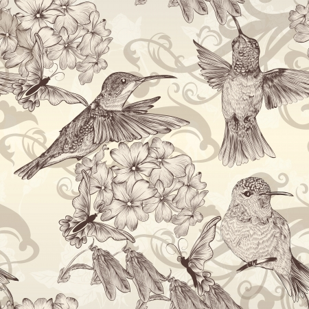 hummingbird: Vector seamless wallpaper pattern with birds and flowers