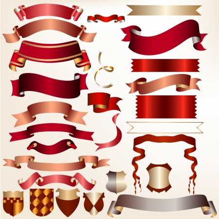 golden ribbons: Colored vector ribbons set for your festive  design