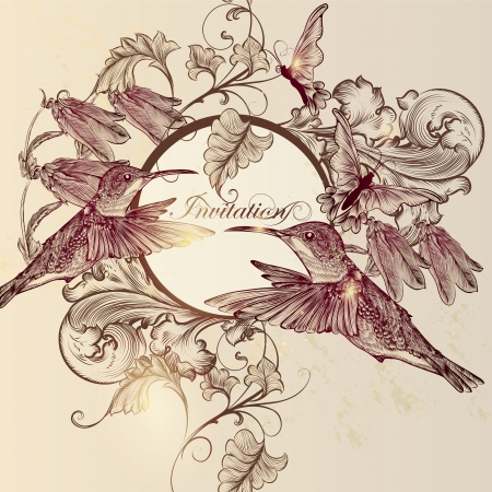 Cute vector background in vintage style with hand drawn butterflies and birds