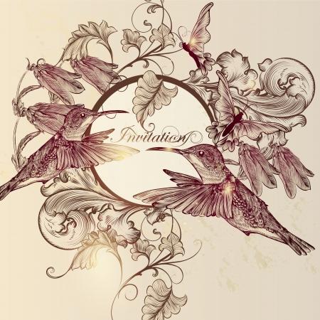 pajaro: Vector de fondo lindo en el estilo vintage con mariposas y pájaros dibujados mano