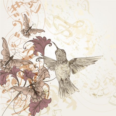 pastel flowers: Vector pattern with butterflies, birds and music notes