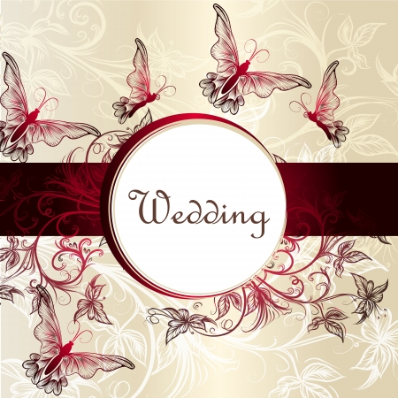 Vector invitation card with red butterflies in vintage style