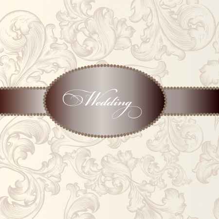 hand drawn  invitation design in classic floral style Vector