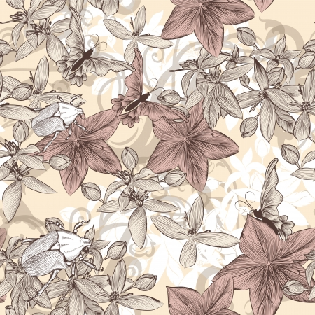 seamless wallpaper pattern with flowers and butterflies Çizim