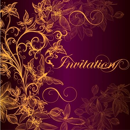 Elegant classic wedding invitation or menu  Retro