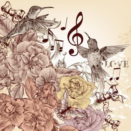 Mode-vector achtergrond met gedetailleerde hand getrokken bloeit en vogels Stock Illustratie