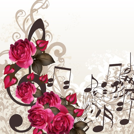 Floral vector background with roses and music elements Vector