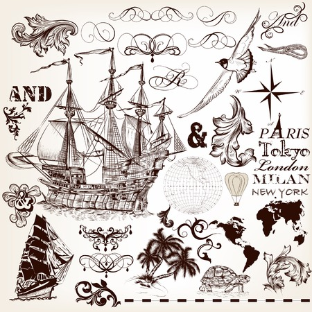 tripping: Collection of vector hand drawn elements on marine theme for design