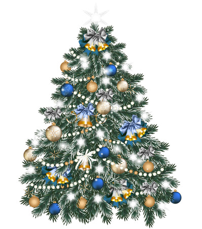 glimmered: Vector illustration for design with realistic Christmas tree  Illustration