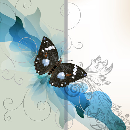 place card: Cute vector invitation card with butterfly for design in blue