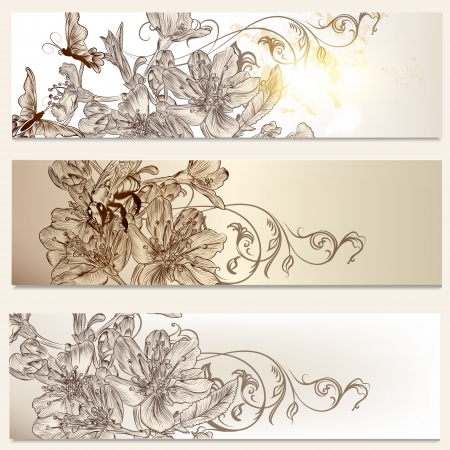 Set of floral brochures with  flowers and butterflies for design Vector