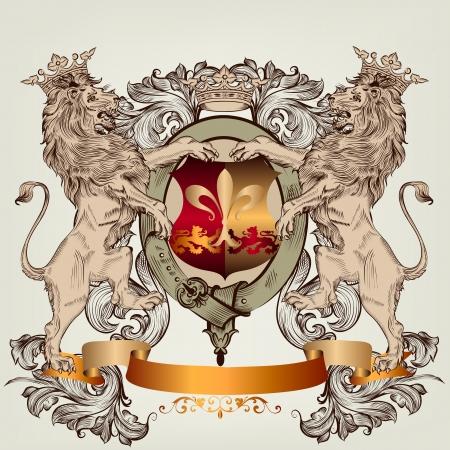 lion dessin: Vecteur h�raldique illustration dans le style vintage avec bouclier, armure, couronne et lions pour la conception Illustration