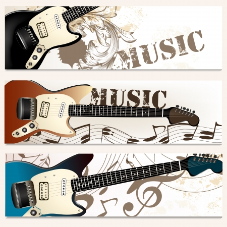 Vector backgrounds set with detailed guitar and notes for design Stock Vector - 23383230