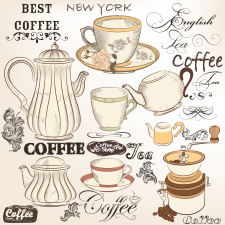 cafeteria: Vector set of hand drawn elements cups, teapots and other for retro design