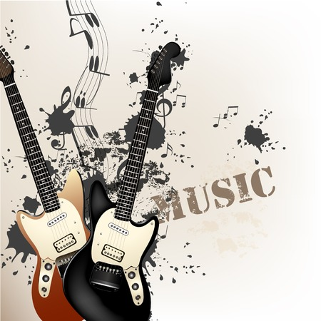Vector background with detailed bass  guitars and notes for design Stock Vector - 23383232