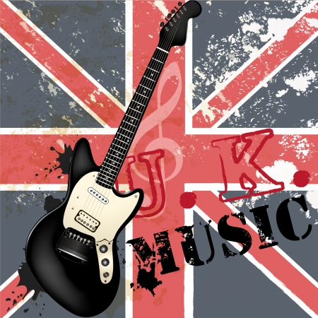 Vector background with detailed bass  guitar on a grunge British flag for design Stock Vector - 23383236