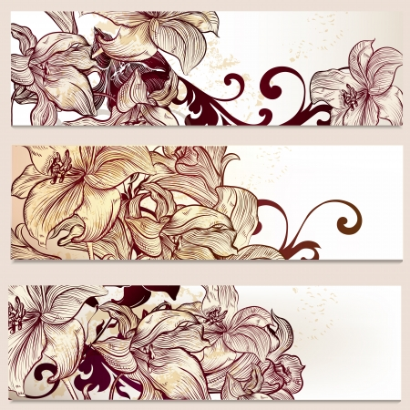 Set of floral brochures with   lily flowers for design Vector